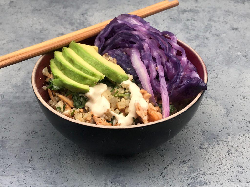 Cumin Spiced Cauliflower Rice with Purple Cabbage and Tahini