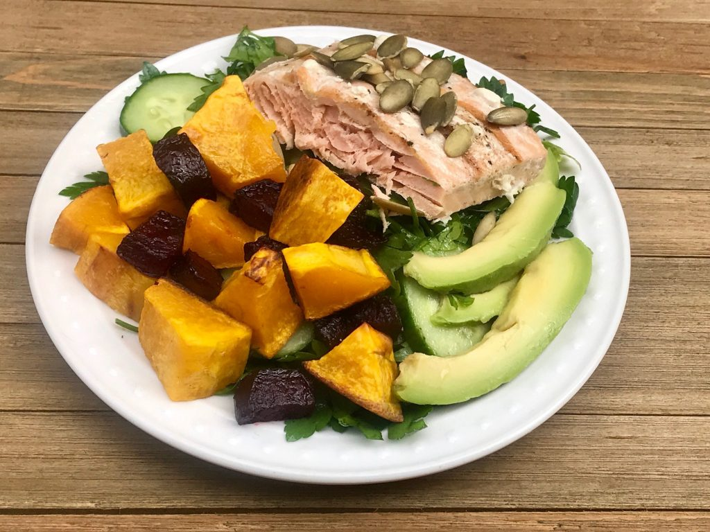 Roasted Root Vegetables with Salmon and Parsley Salad